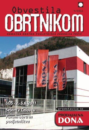 Obvestila april 2011 - Območna obrtno-podjetniška zbornica Tržič