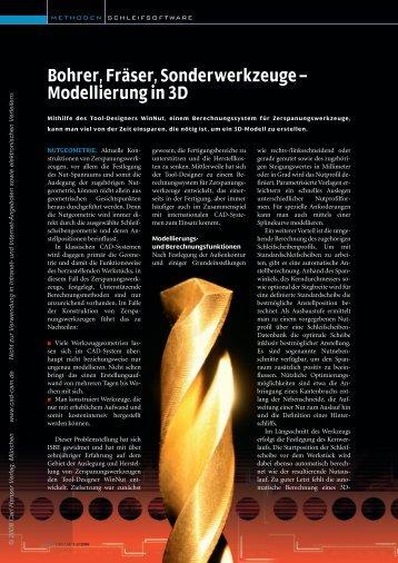 Bohrer, Fräser, Sonderwerkzeuge – Modellierung in 3D