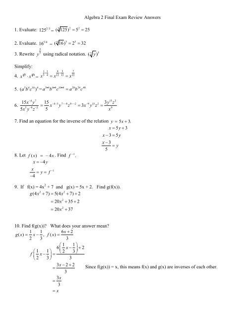 Algebra 2 final exam review sem 2 answers