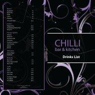Drinks List - Chilli Bar & Kitchen