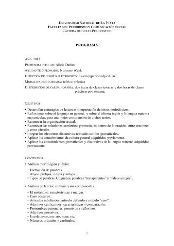 Capacitación en Idioma Extranjero: Ingles - Facultad de Periodismo ...