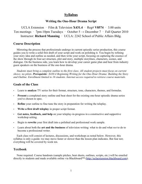 Syllabus: Writing the One-Hour Drama Script     - UCLA Extension