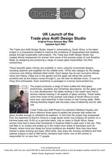 UK Launch of the Trade plus Aid® Design Studio