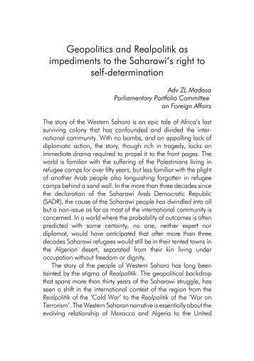 Geopolitics and Realpolitik as impediments to the Saharawi's right to ...