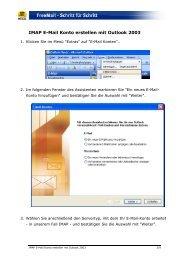 IMAP E-Mail Konto erstellen mit Outlook 2003 - Web