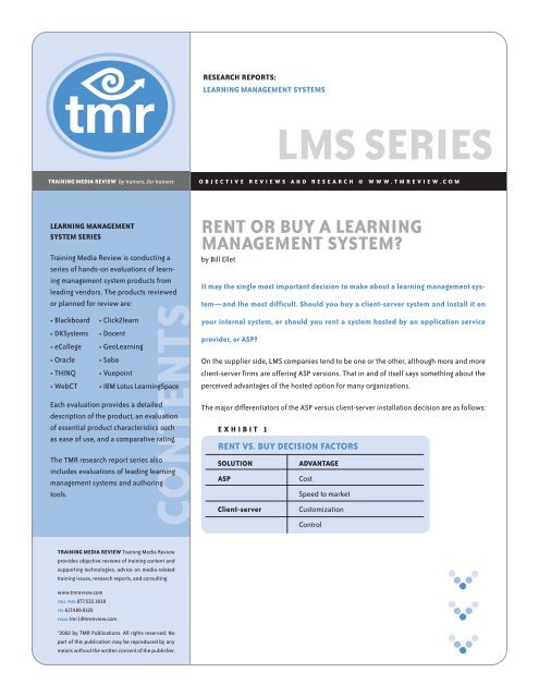 Rent or Buy a Learning Management System