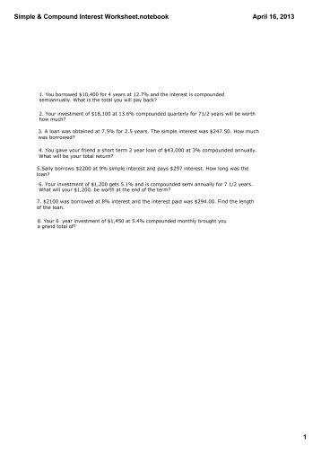 Compound interest worksheets math about com