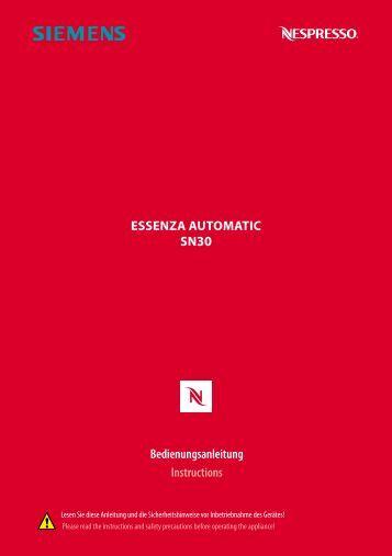 essenza automatic sn30 Bedienungsanleitung Instructions