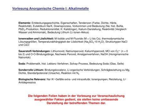Vorlesung Anorganische Chemie I Alkalimetalle