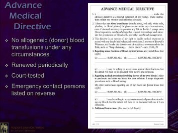 Hospital Liaison Committee for Jehovah's Witnesses - Diagnostic ...