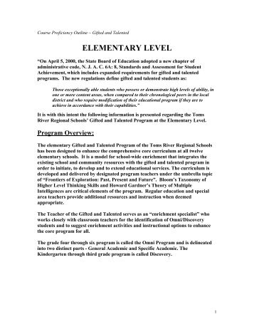 ELEMENTARY LEVEL - Toms River Regional Schools