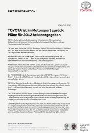 TOYOTA ist im Motorsport zurück: Pläne für 2012 bekanntgegeben