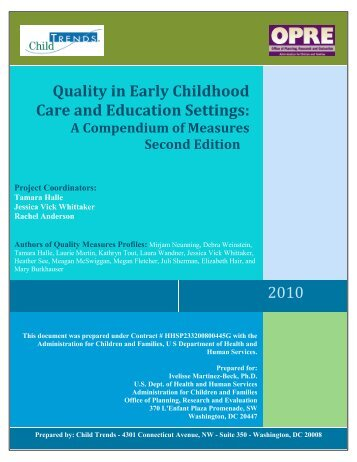 Quality in Early  Childhood Care and Education Settings - Child Trends