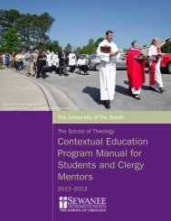 Contextual Education Program - The School of Theology - Sewanee