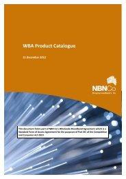 WBA Product Catalogue - 21 December 2012 - NBN Co