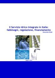 Il Servizio Idrico Integrato in Italia: fabbisogni, regolazione ... - Dps
