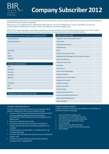 Company Subscriber 2012 - British Institute of Radiology