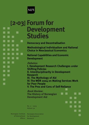Forum for Development Studies - NUPI