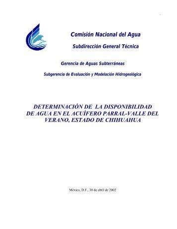 determinación de la disponibilidad de agua en el acuífero parral ...