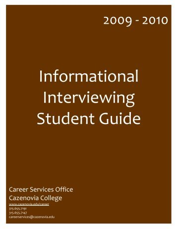 Informational Interviewing Student Guide - Cazenovia College