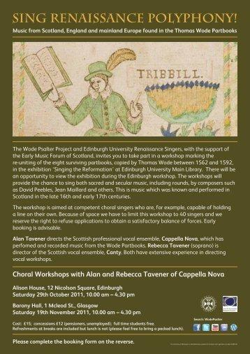 Choral Workshop A4 flyer 100% - University of Edinburgh