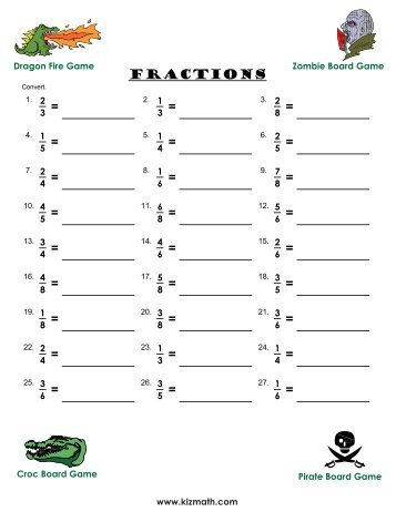 Convert fractions to decimals - Math for Children