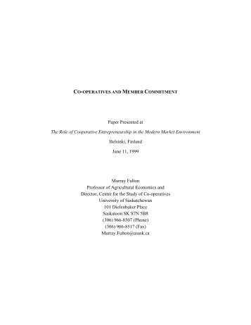 Paper Presented at The Role of Cooperative Entrepreneurship in ...