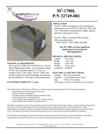 Detailed Data Sheet - MarathonNorco Aerospace