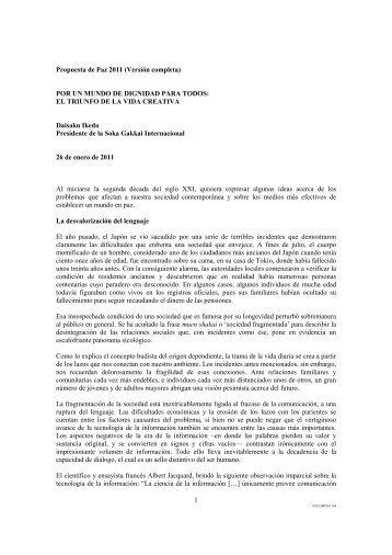 1 Propuesta de Paz 2011 (Versión completa) POR UN ... - SGI