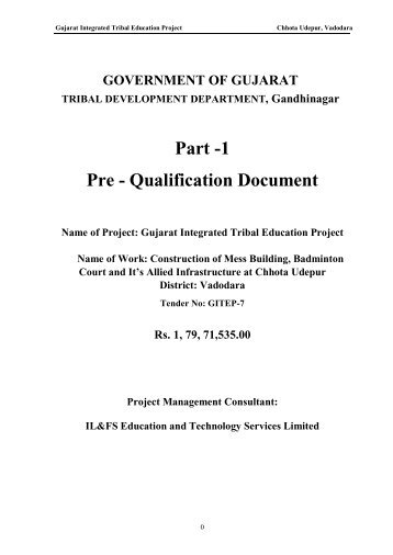 Part -1 Pre - Qualification Document - Vanbandhu Kalyan Yojana ...