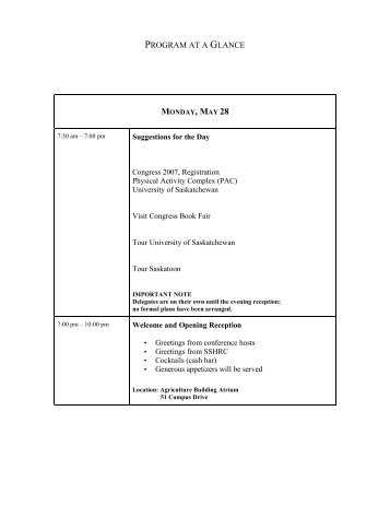 PROGRAM AT A GLANCE - Centre for the Study of Co-operatives
