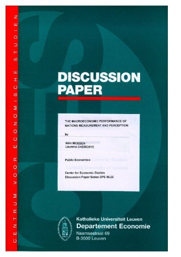 The Macroeconomic Performance of Nations Measurement and ...
