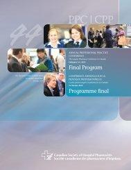 Final Program - Canadian Society of Hospital Pharmacists