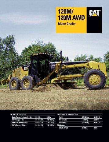 Specalog for 120M/120M AWD Motor Grader ... - Kelly Tractor