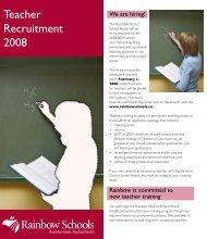 Teacher Recruitment 2008 - Rainbow District School Board