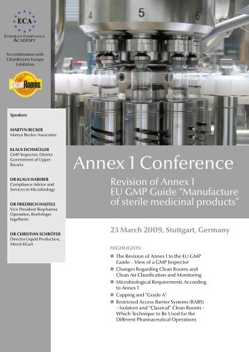Annex 1 Conference - European Compliance Academy