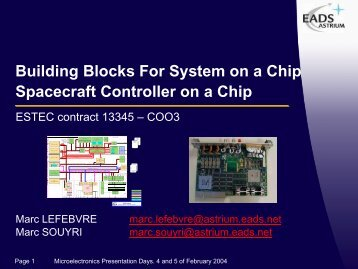 Spacecraft Controller on a Chip - Microelectronics - ESA