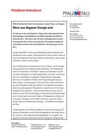 PfalzMetall-Artikeldienst Wenn aus Abgasen Energie wird