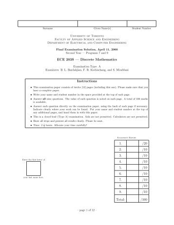 ECE 203S — Discrete Mathematics Instructions 1. /20 2. /10 3. /10 4 ...