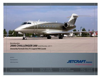 Bombardier 2006 Challenger 300 Serial Number: 20111 - Sitepro