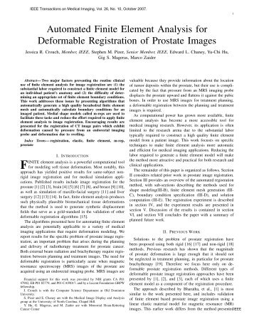 Automated Finite Element Analysis for Deformable Registration of ...