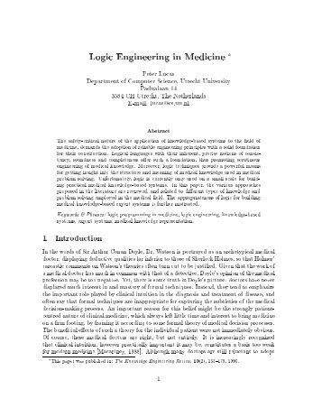 Logic Engineering in Medicine * - Department of Information and ...