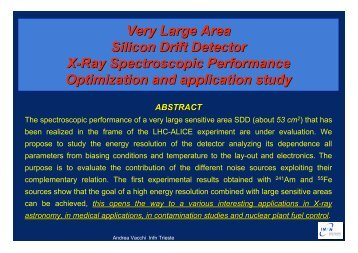 Very Large Area Silicon Drift Detector X-Ray Spectroscopic ... - Infn