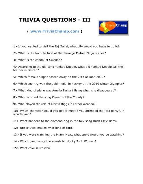 334930ec7d01 TRIVIA QUESTIONS - III - Trivia Champ