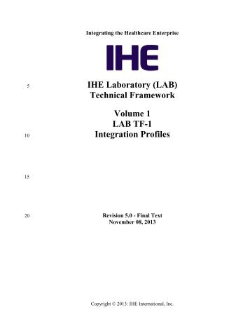 IHE Laboratory (LAB) Technical Framework Volume 1 (LAB TF-1 ...
