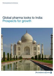 Global pharma looks to India: Prospects for growth - pwc
