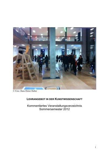 Kommentiertes Veranstaltungsverzeichnis Sommersemester 2012