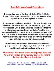 Copyright Warning & Restrictions - New Jersey Institute of Technology