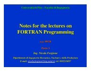 Notes for the lectures on FORTRAN Programming - Ingegneria ...