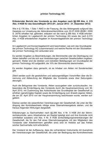 Erläuternder Bericht des Vorstandes zu den Angaben nach §§289 ...